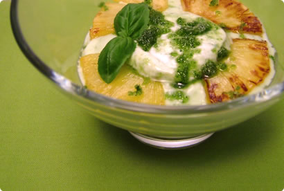Caramelized pineapple with basil-sugar Greek yoghurt