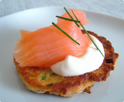 Blini with Creme Fraiche & Salmon
