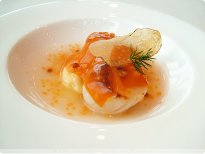 Ikarus: scallops - carrot - potato - cardamom - coffee