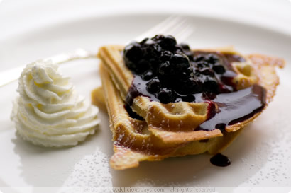 Cinnamon waffles with blueberries